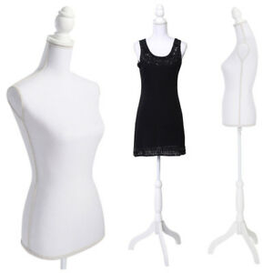 New Female Mannequin Torso Model Clothing White Display W White Tripod Stand