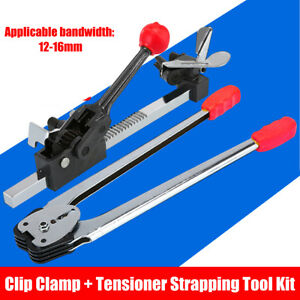 Paper Plastic Strapping Tool Kit 12 16mm Clip Clamp Tensioner Advanced Packer