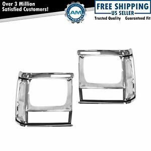 Chrome Headlight Bezel Pair Set For Jeep Cherokee Comanche Pickup Truck