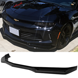 Fits 16 18 Chevy Camaro V6 2 Door Zl1 Style Front Bumper Lip Pp Glossy Black