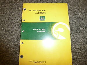 John Deere 870 970 1070 Compact Utility Tractor Owner Operator Manual Omm95327
