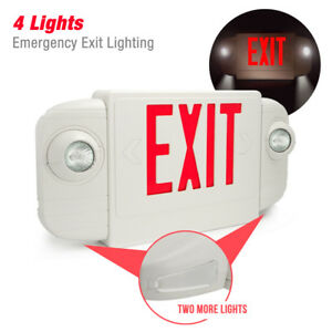 Etoplighting 4 Lights Emergency Exit Sign Red Letters With Backup Battery