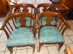 Set Of 4 Solid Oak Game Chairs Dining Chairs By Henredon Rp Dc18