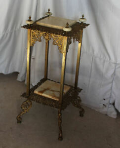 Antique Brass Onyx Fancy Plant Stand Pedestal