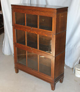 Antique Arts Crafts Mission Oak Macey Bookcase Three High Sectional Bookcase