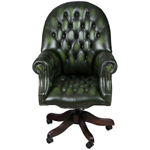 New Antique Style Tufted Green Leather Directors Office Desk Chair Executive Fs