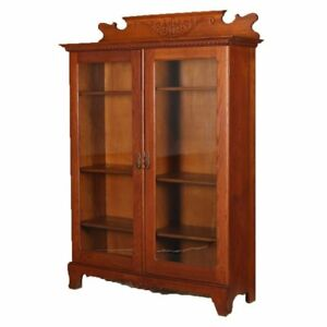 Antique Horner Bros School Carved Oak Double Glass Door Bookcase Circa 1910