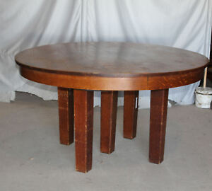 Antique L Jg Stickley Mission Arts Crafts 54 Round Oak Dining Table 4 Lea