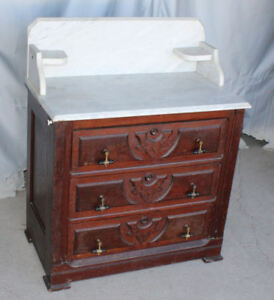Antique American Victorian Walnut Marble Top 3 Drawer Commode Chest Of Drawers