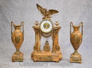 French Empire Marble Mantle Clock Garniture Set Gilt Eagle