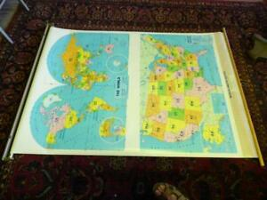 Vintage 1996 United States World Map Retractable Pull Down School Wall Map