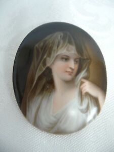 Beautiful Young Maiden On Hand Painted Porcelain No Frame 2 3 8 By 2