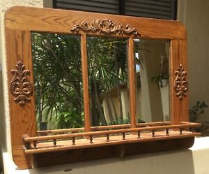 Amazing Large Antique Oak Hall Tree Beveled Mirror Stand W Shelf