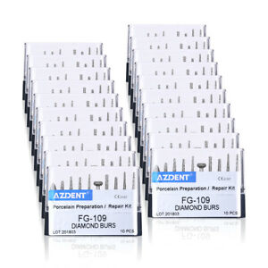 50 Box Dental Diamond Burs Porcelain Preparation repair Kit Black Fg 109
