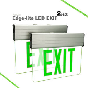 2 Pack Etoplighting Green Led Emergency Exit Light Sign Edge lit Translucent