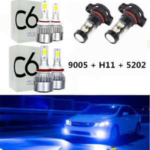 H11 9005 8000k Led Headlights Fog Lights For 2007 2015 Chevy Silverado 1500