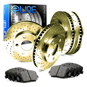 For Mercedes Benz Ml350 Front Rear Gold Drilled Brake Rotors Ceramic Brake Pads