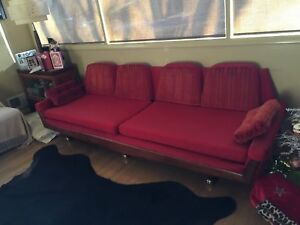 Mid Century Modern Adrian Pearsall Style Gondola Sofa In Bright Reds