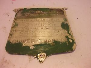 1958 Oliver 550 Utility Tractor Original Ol Serial Number Tag 65690