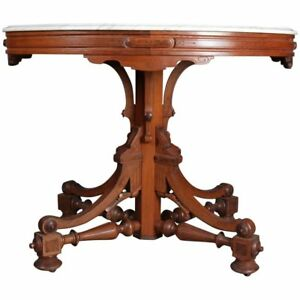 Antique Victorian Eastlake Carved Walnut Marble Pedestal Parlor Table