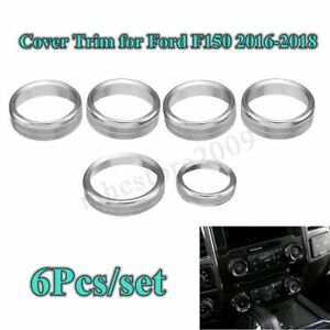 6x Air Conditioner Audio Switch Knob Ring Cover Trim For Ford F150 2016 2018