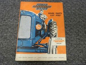 1952 1958 1961 Ford Fordson Major Power Major Tractor Parts Catalog Manual