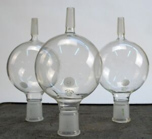 Lot Of 3 Pyrex 1000ml Round Funnel Flask 34 45 Inlet 19 38 Outlet Exit Lab Glass