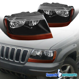 For 1999 2004 Jeep Grand Cherokee Black Headlamps Black turn Signal Lights Pair