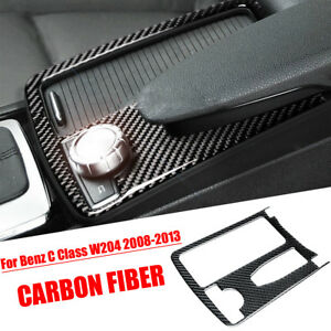 Carbon Fiber Center Water Cup Holder Frame Cover For Benz C Class W204 2008 2013