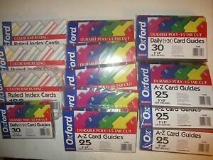 Oxford Colored File Guides Lot Of 10 4x8 Packs 300 Index Cards Plus More