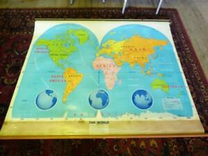 Vintage 1994 World Map Retractable Pull Down School Wall Map