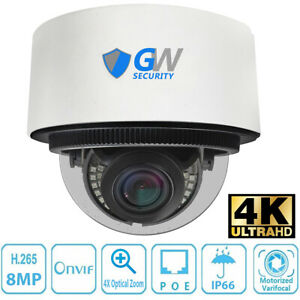 8mp 2160p 30fps 4k Ip 4x Optical Motorized Zoom Dome Poe Security Camera