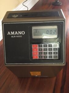 Amano Mjr 8000 Time Clock Punch Card Machine