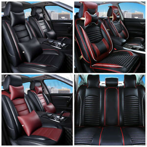 5 Seats Car Seat Leather Breathable Cover Front rear Cushion Mat W pillow Full