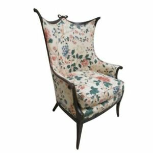Antique French Carved Lincoln Drape Fireside Liiving Room Lounge Chair