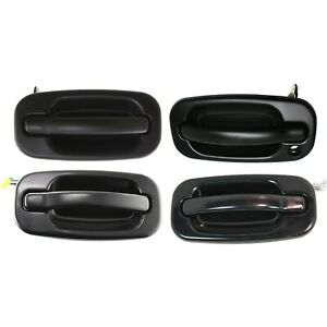 Door Handle Set For 2000 2006 Chevrolet Silverado 1500 Smooth Black Outer 4pc