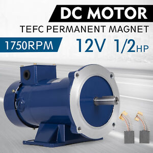 Dc Motor 1 2hp 56c Frame 12v 1750rpm Tefc Magnet Durable Smooth Equipment