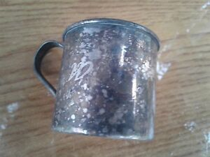 Vintage Silver Plate Baby Drinking Cup Infant Highchair Classic