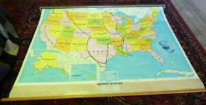Vintage 1996 United States Map Retractable Pull Down School Wall Map