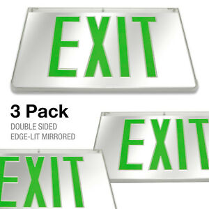 3pcs Mirrored Green Led Exit Sign Indoor Emergency Fixtures Fire Lights Panel