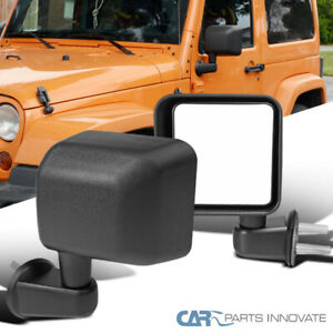 For Jeep 07 18 Wrangler Jk Black Manual Side View Mirrors Brackets Left Right