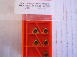 Lot Of 5 Carmex Precision Tool Carbide Inserts 11 Ir 0 35 Iso Mxc New