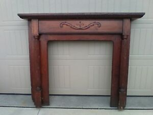Antique 1880 S Pine Fireplace Surround Hand Carved Details Mantel And Fluted Leg