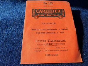 1953 Nash Statesman Carter Carburetor Rebuild Kit 230 Original Nos