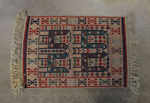 Vintage Elsa Turkish Kaba Kilim Wool Vegetable Dyed Rug 25 X 35