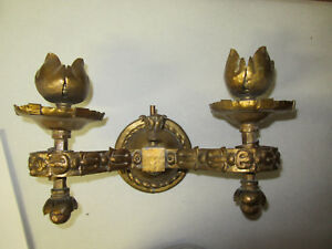 Vintage Heavy Cast Brass 2 Light Wall Sconce