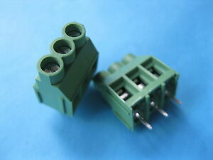 50 Pcs Green 3 Pin 6 35mm Screw Terminal Block Connector Wire Cage Type Dc635