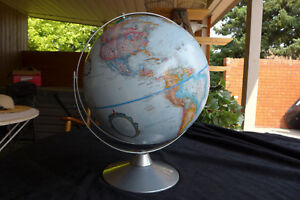 Replogle 12 Inch Vintage Starlight Globe Blue Oceans Raised Mountains 1990 S
