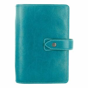 Filofax Malden Kingfisher Personal Size Leather Organizer Agenda Planner Ring