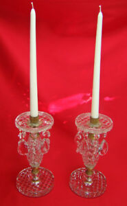 Antique Victorian Empire Deco Diamond Cut Crystal Gold Gilded Candle Lusters